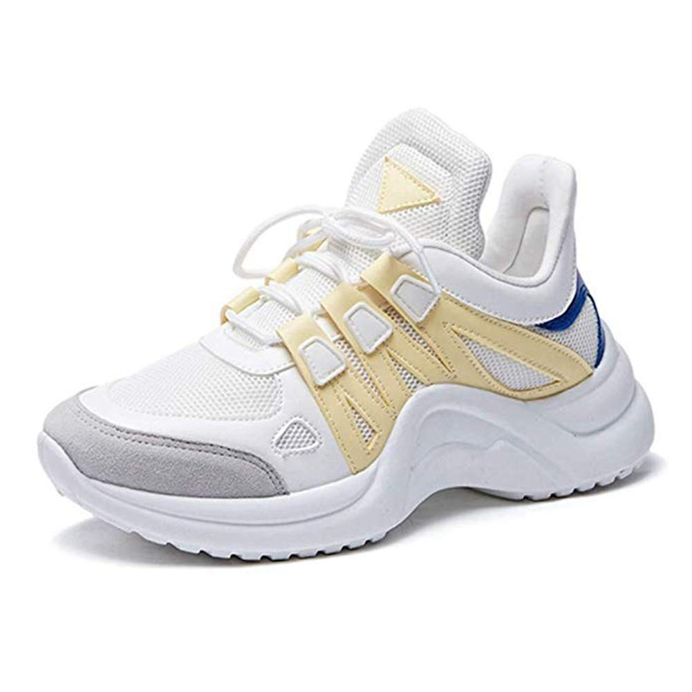 T-JULY Women's Fashion Mesh Platform Sports Sneakers Wedges Breathable Running Shoes Slip-on Casual Walking Shoes Yellow