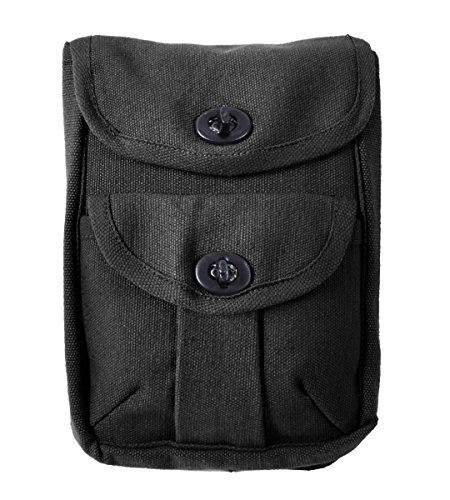 Canvas Heavyweight Belt - Rothco Black 2-Pocket Ammo Pouch