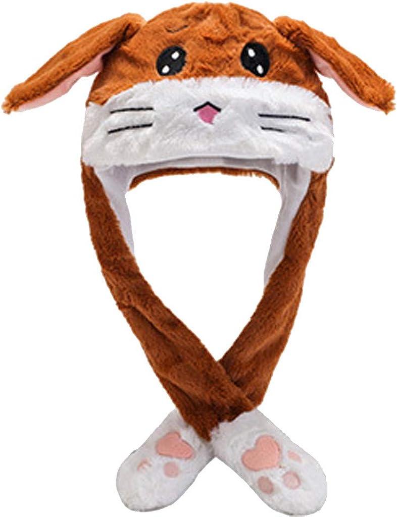 AmyGline Winter M/ütze Damen Kopfbedeckungen Hasenohr Hut Pl/üsch-Stickerei Cartoon Pl/üsch M/ütze Funny Tierhut Weihnachten Karneval Kost/üm