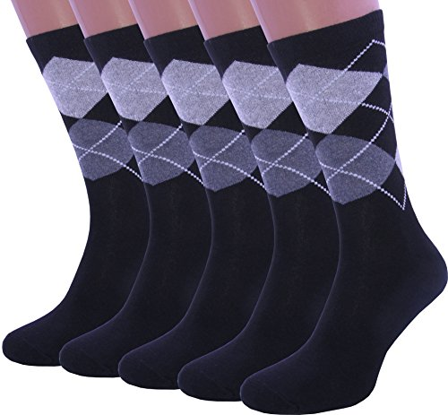 5 Pack Men's Cotton Dress Argyle Socks black and gray color size (11-12)
