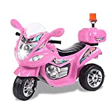 Tamco Police Motorcycle Ride On Toy with Flash Alarm Light, Electric Power Tricycle with Foot Pedal, 7 Colors Flashlight Front Light, Music & Honk, Super Easy Driving for Kids 2-6 Years Old