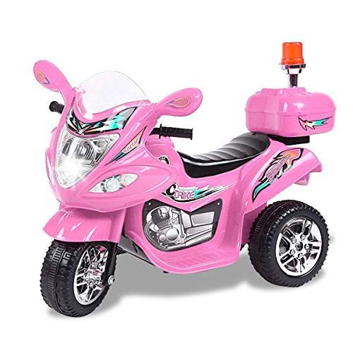 Tamco Police Motorcycle Ride On Toy with Flash Alarm Light, Electric Power Tricycle with Foot Pedal, 7 Colors Flashlight Front Light, Music & Honk, Super Easy Driving for Kids Max Load 45LB ()