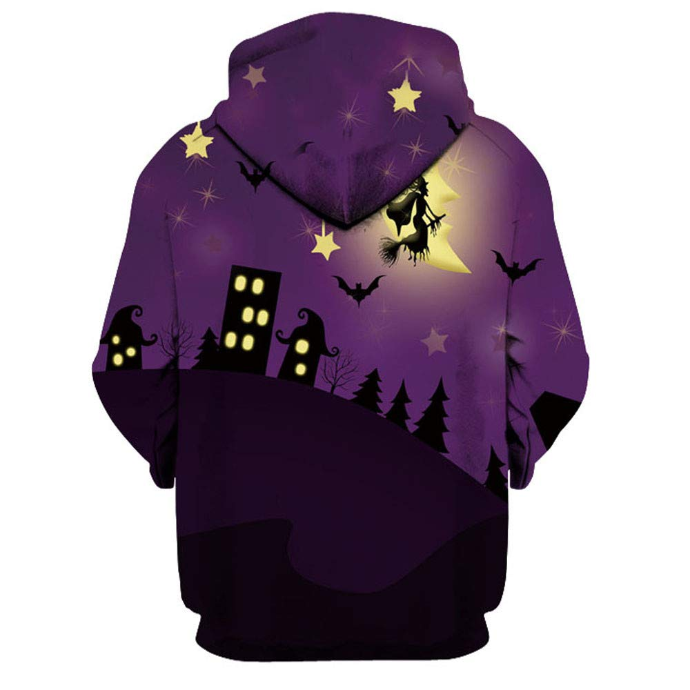 kaifongfu Halloween Hoodies Top,Long Sleeve Couples 3D Print Blouse Shirts(Purple,XXL) by kaifongfu-Women clothes (Image #5)