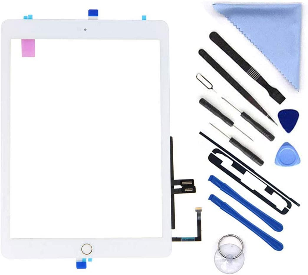 "New Touch Screen Digitizer Repair Kit for iPad 9.7"" 2018 iPad 6 6th Gen A1893 A1954 Touch Screen Digitizer Replacement with Home Button(Not Include LCD) +Pre-Installed Adhesive + Tools (White)"