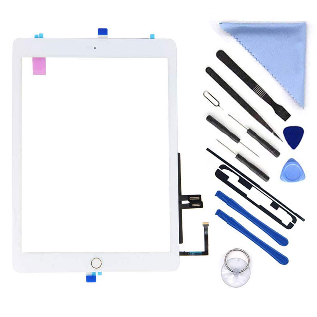 White Digitizer Repair Kit for iPad 9.7'' 2018 iPad 6 6th Gen A1893 A1954 Touch Screen Digitizer Replacement with Home Button,(Not Include LCD) +Pre-Installed Adhesive + Tools