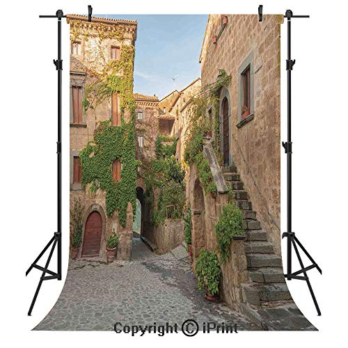 - Tuscan Photography Backdrops,Village Houses with Colorful Flowers Outside in Burano Village Venice Italy Image,Birthday Party Seamless Photo Studio Booth Background Banner 6x9ft,Ivory Green
