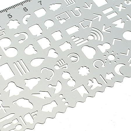 MYAMIA Dibujo Recorte Metal Plantilla Regla Bricolaje Decorativos Graffiti Viajes Cuaderno Diario Bullet Diario Plantillas: Amazon.es: Hogar