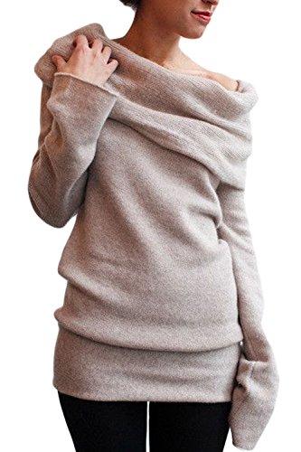 Las Mujeres De Manga Larga Cuello Barco Montones De Otoño Collar Knitwear Shirt Top Tee Khaki