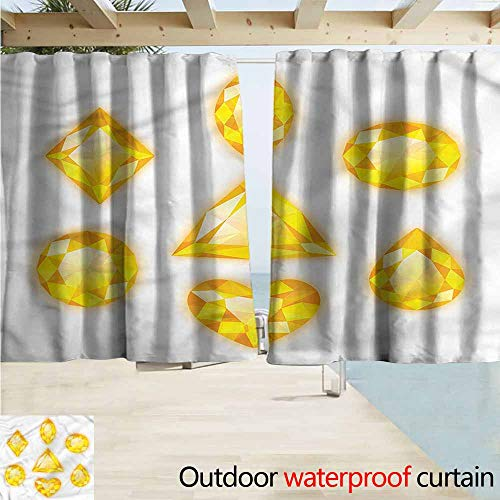 Indoor/Outdoor Print Window Curtain Diamonds Marquise Hearts and Pear Outdoor Privacy Porch Curtains W72x63L Inches