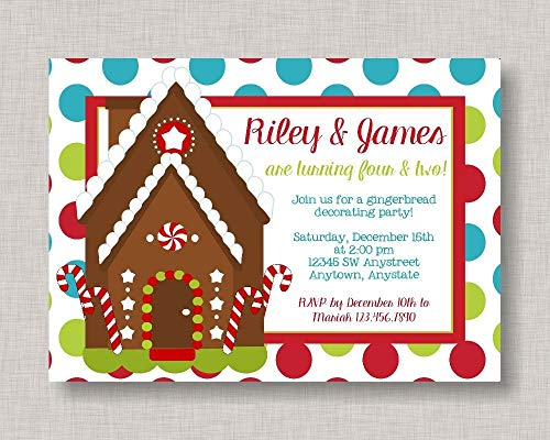 Party House Invitations Gingerbread (Ruskin352 Gingerbread Birthday Invitation Gingerbread House Invitation Gingerbread Party Sibling Birthday Christmas Party Cousins Friends)