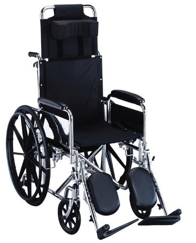 "Ita-Med 20"" Reclining Wheelchair with Detachable Full-Length Arms and Elevating Legrests"