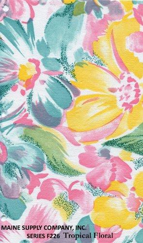 "Tropical Floral Series F0226 Vinyl Tablecloth 54"" X 45' Roll"