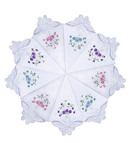 Women's White Lace Wedding Party Hankies Embroidered Ladies Handkerchiefs by Isher (6 pcs)