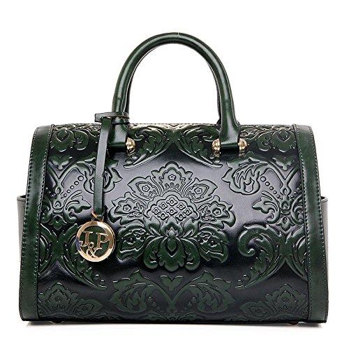 Vintage Flower Embossed Women Handbag Chinese Style Boston Shoulder Bags Female Luxury Messenger Bag Green - Green Patent Embossed Handbag