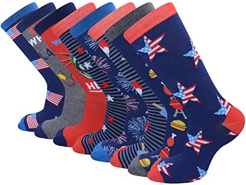 American Flag Socks,Fun Dress Crew Socks Patriotic Novelty Funny Crazy Funky Groomsmen Gift Socks for Men and Women 8 Pairs