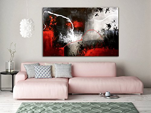 (combustion-lightning)Hand made Modern Abstract red Painting, Black and white, Abstract Art Canvas Abstract Art, Original Canvas Art, gray Abstract wall Art by Fchen Art