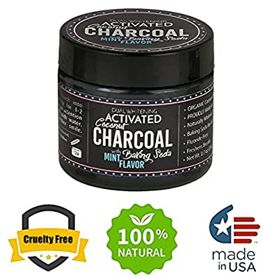 Dual Whitening Activated Coconut Charcoal Tooth Powder - Natural Teeth Whitening Kit With Brush | Organic, Non-Abrasive | With Baking Soda And Mint Flavor