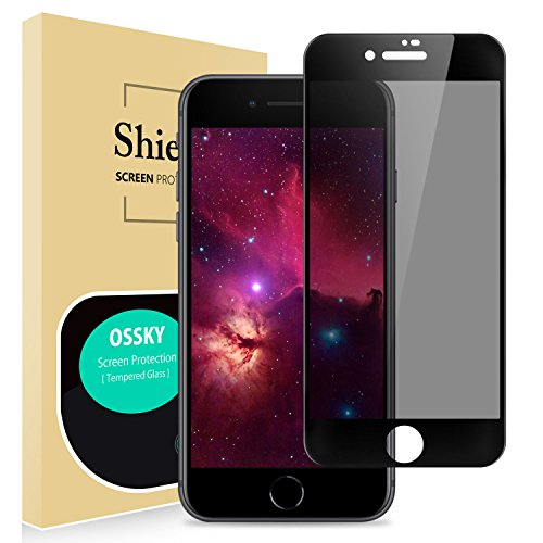 iPhone 8/7/6/6s Privacy Screen Protector, OSSKY iPhone 8/7/6/6s 3D Curved Anti - Spy Full Coverage Unbreakable Tempered Glass Screen Cover Shield Apple iPhone 8/7/6/6s, 4.7 inch - White