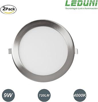 LEDUNI ® Pack 2 Unidades Downlight Panel LED NÍquel Redonda 9W 720LM Luz Neutra 4000K Angulo 120 IP44 145X145x22H MM Dimension de Corte 130x130MM: Amazon.es: Iluminación