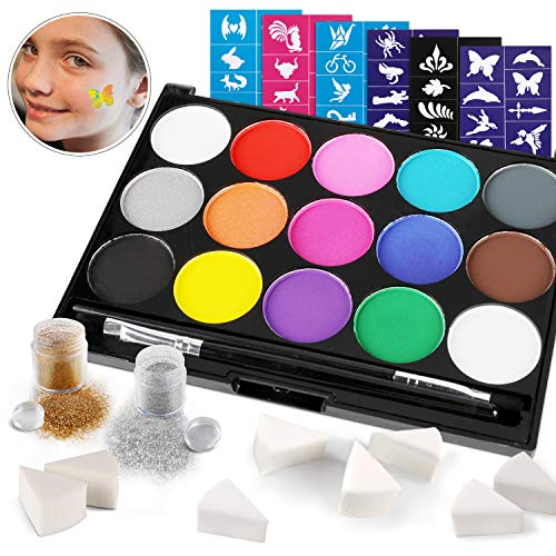 Konsait Body Painting Face Paint Kit, 15Color Non-Toxic Professional Palette/60Tattoos Stencils/2 Glitters Pots/2Cosmetic Brushes/8Sponge for Halloween Party Cosplay Makeup Body Festive Face Paint Kid