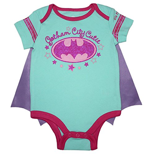 [2 PCS SET Baby Girls BATGIRL One-Piece Glitter Romper with Removable Cape 3/6M Multicolor] (Baby Batgirl Outfit)
