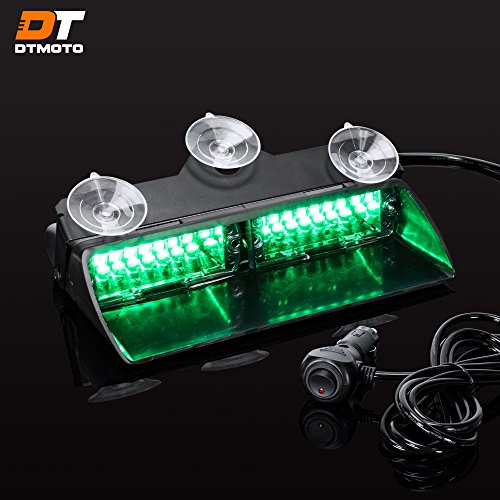 9 16-Watt LED Emergency Dash Light for Vehicles w/19 Modes and IP65 Waterproof Rating - Green Interior Flashing Warning Strobe Lights