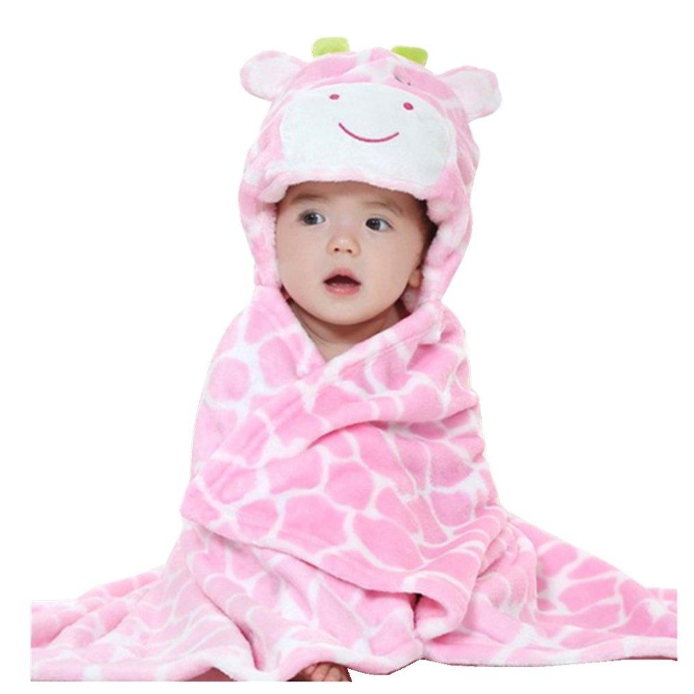 JOYHY Unisex Baby Infant Blanket Bathrobe Towel Cute Animal Baby Cloak Pink Cow JY JY-3301