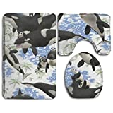 HOMESTORES Whale Panda Art Funny Animal Underwater Theme Floral Design Bath Mat Bathroom Carpet Rug Washable Non-Slip 3 Piece Bathroom Mat Set