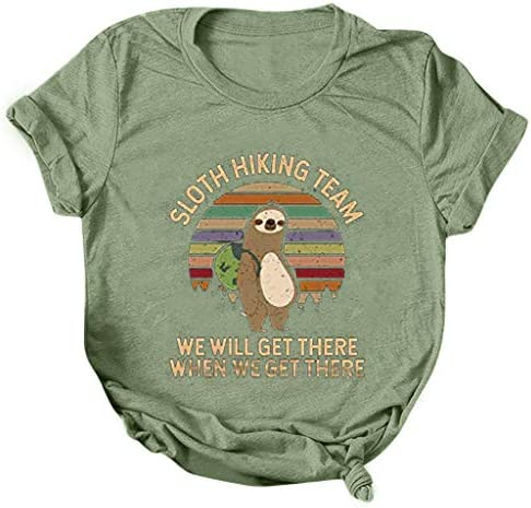 FINME Sloth Hiking Team Shirt Womens Sloth Print Short Sleeve T-Shirt Casual Loose Summer Letter Tops Classic Graphic Tees