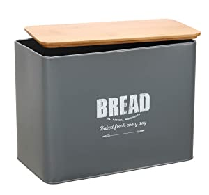 Metal Bread Bin Loaves Storage Canister Tins - Tight Seal Wood Lids - Countertop Space-Saving, Gray-Coated Carbon Steel Safty