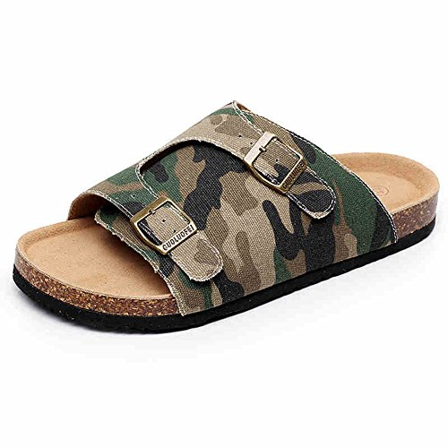 Slippers HAIZHEN Women shoes Men Cool Male Summer Canvas Cork Denim Big Size Beach Shoes With 3 Colors for Women (Color : #2, Size : EU43/UK9.5/CN45) #3