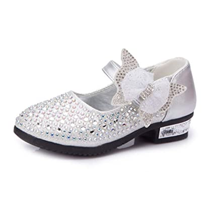 cf61657b9e0b7 Amazon.com: Little Girls Princess Shoes with Rhinestones Bowknot ...