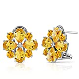 ALARRI 4.85 Carat 14K Solid White Gold Love Accents Citrine Earrings