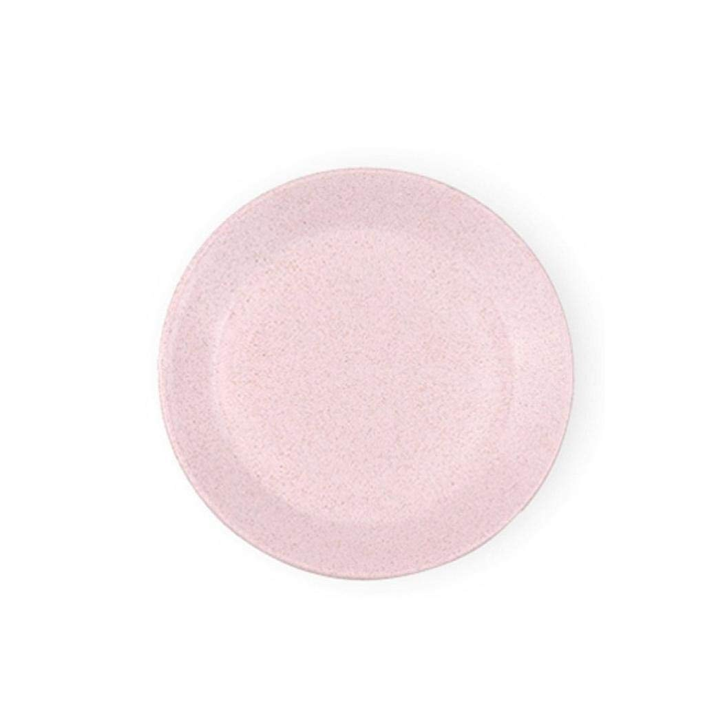 Elaco Round Trays of Wheat Straw,Environmental Protection Round Plate Snack Melon Seeds Plate (Pink)