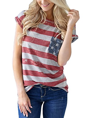 Azokoe American Flag Top for Women Regular Tops American Flag Under 20 The United States Flag Basic T Shirts Casual Loose Short Sleeves Pocket Shirt USA Tops and Blouses for Junior Large ()