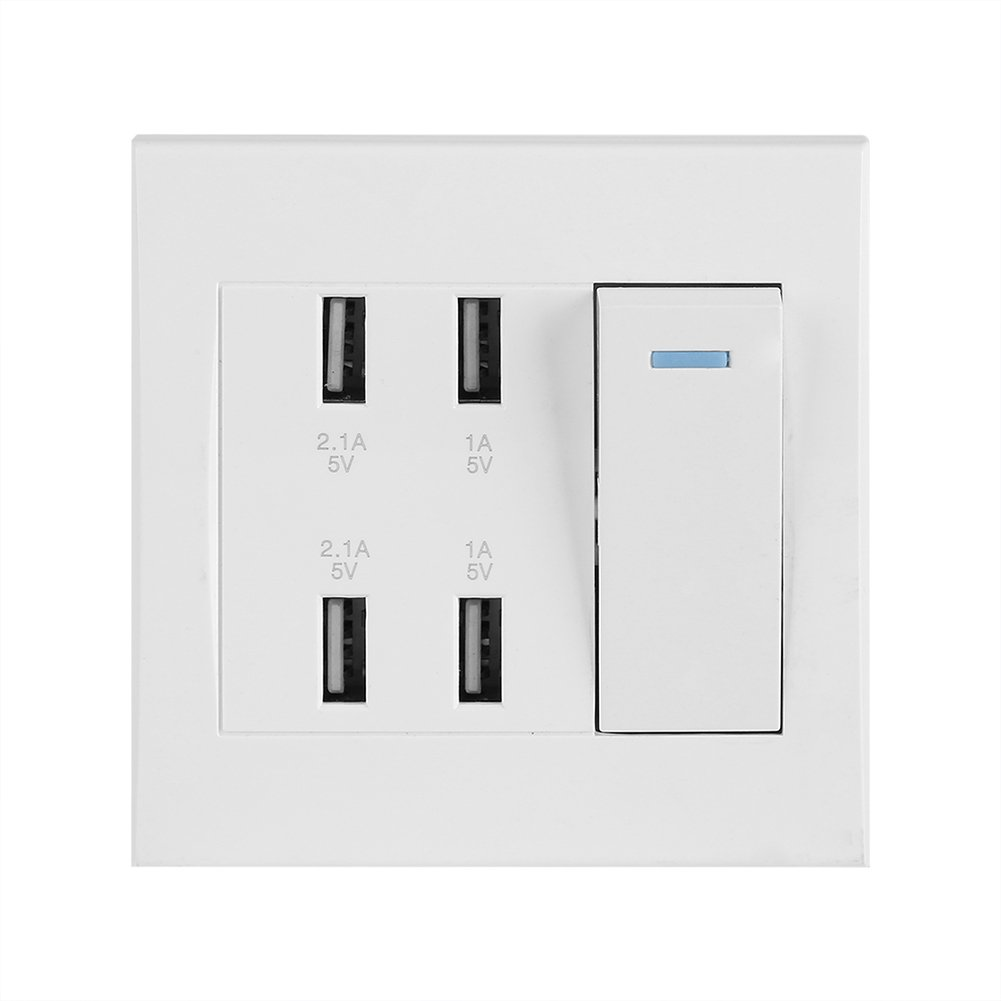 Yosooo USB Wall Mounted Socket Intelligent Charger Outlet Panel Tool Home Decoration Professional Power Socket Gift 10A 4 Ports