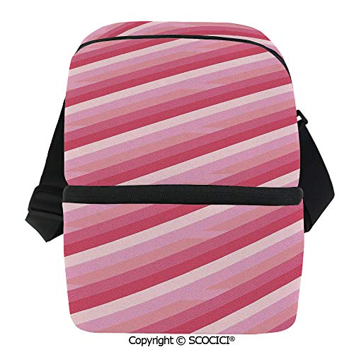 SCOCICI Insulated Lunch Cooler Bag Old School Vintage Diagonal Lines Patterns Colored Image Abstract Design Reusable Lunch for Men Women Heat Insulation,Heat Protection