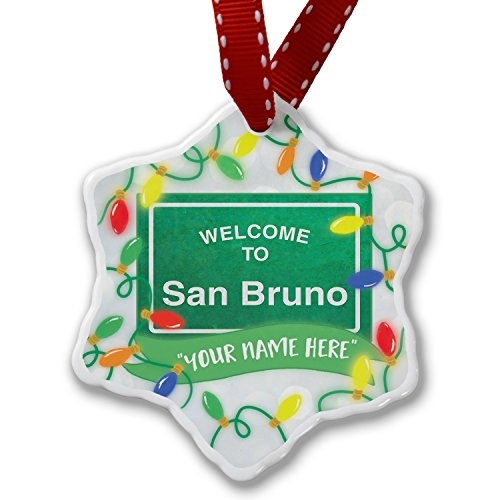 NEONBLOND Personalized Name Christmas Ornament, Green Road Sign Welcome to San ()