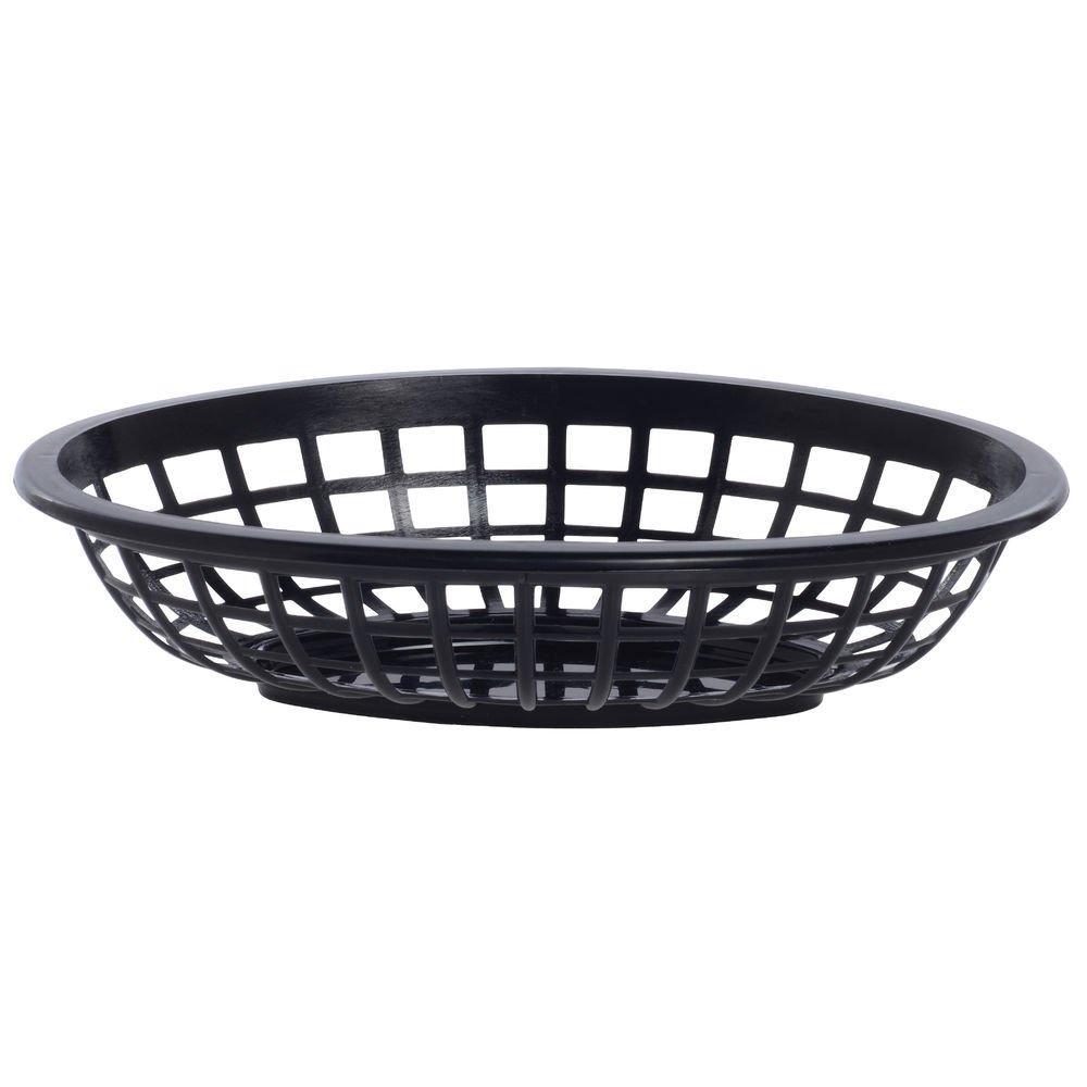 HUBERT Serving Baskets Small Oval Black Plastic - 7 7/8 L x 5 1/2 W x 1 3/4 H 72 Per Case