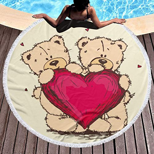 Hanging Decorations Round Beach Towel Blanket,Microfiber Terry Beach Roundie Circle Yoga Mat with Fringe Teddy Bears Red Heart Ultra Soft Super Water Absorbent Multi-Purpose Towel 59 Inch for Soft