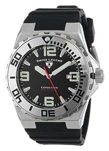 Swiss Legend Men's 10008-01SET Commander Black Dial Black Silicone Watch Set