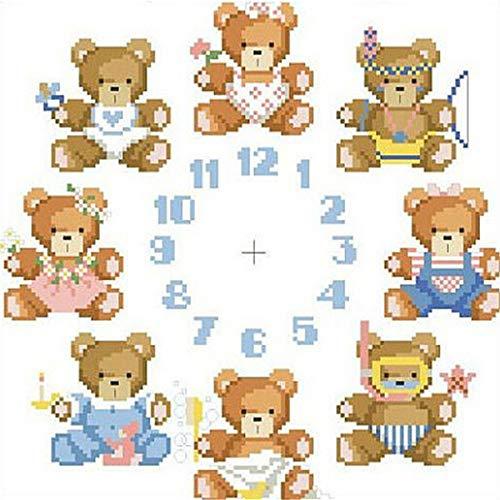 (5D Embroidery Paintings Rhinestone Pasted DIY Diamond painting Cross Stitch (Teddy Bear Clock) 16x16 inch / 40x40 cm)