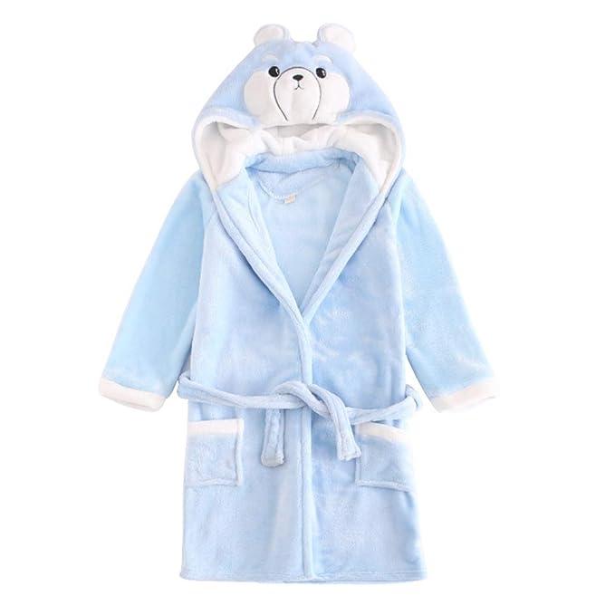 Niños Bata de Baño Albornoces Franela Encapuchado Pijama Cosplay Disfraces Animales Vestirse Unisexo (110cm,