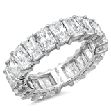 5.0CT Emerald Cut Simulated Diamond CZ Pave Eternity Wedding Engagement Promise Band Ring 14K White Gold