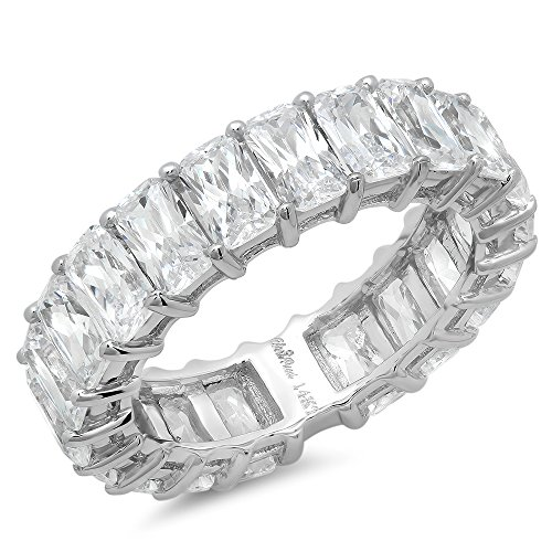 5.2 Ct Emerald Cut Pave Eternity Promise Wedding Engagement Promise Bridal Anniversary Band Ring 14K White Gold, Clara Pucci