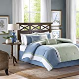 Madison Park America Bethany 7 Piece Comforter Set, California King, Blue