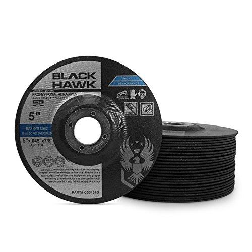 25 Pack Black Hawk 5'' x .045 x 7/8'' Arbor Depressed Center Cut Off Wheels - Metal & Stainless Steel - Type 27