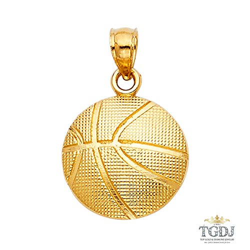 (14K Yellow Gold Basketball Pendant - 14K Stamped Charm Pendant - Ball Shaped Fine Jewelry - Ideal for Men & Women - Great Gift for Basketball Player Friends, Jewelry Box Included, 14 x 14 mm, 1.0 gram)