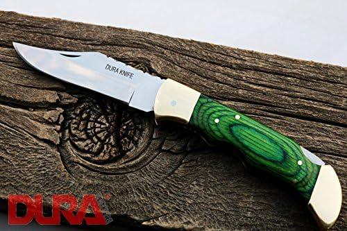 DURA KNIVES Dk-34 Green Pakka Wood 4.5 Folded Custom Handmade Stainless Steel Mirror Polished Folding Pocket Knife 100 Prime Quality Big Grip Wooden Handle Limited Edition