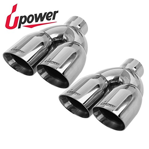 Pack of 2 Upower Dual Exhaust Tip Tailpipe 2.5 Inch Inlet 3.5